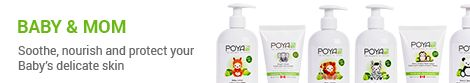 Poya Baby Care -Made with naturally sourced ingredients, this mild formula gently cleanses baby's delicate skin. Lime Essential Oil soothes while Mint refreshes the skin. This mild baby wash won't irritate tender skin, because we use natural Coconut-derived surfactants that deliver a foaming lather without stripping the skin of its natural oils.