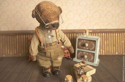 мишка тедди Учитель химии авторский мишка тедди - коричневый,мишка тедди
