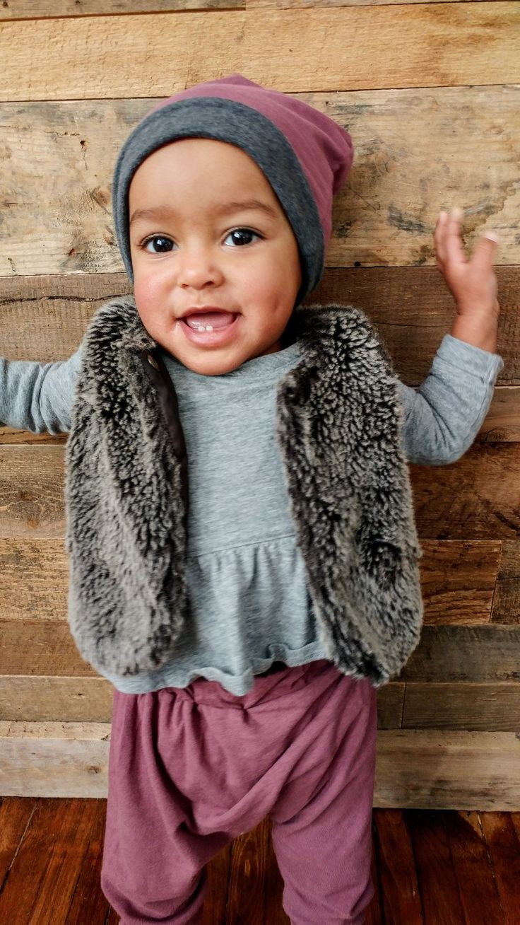 Girls reversible bamboo slouchy hat and pants. Childrens fashion. Baby girl. Mixed baby. Lil Slouchies