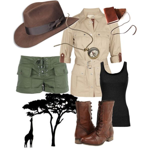 Safari Adventurer Outfit, created by mintscribble on Polyvore                                                                                                                                                                                 Plus