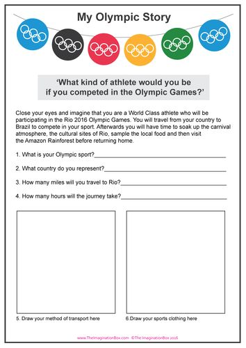 'My Olympic Story' Rio Games creative learning and research activity for kids, free to download. 'Imagine you are a World Class Olympic Athlete'