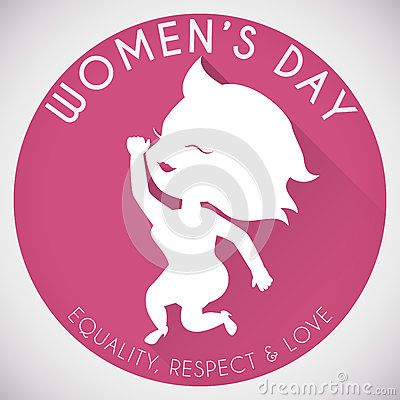 Pink button with greeting message for Women's Day with a cute woman silhouette