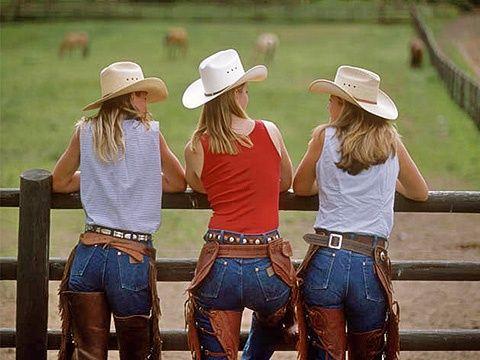 Averill's Lodge - Montana  www.duderanchroundup.com  3 cute cowgirls in chaps!