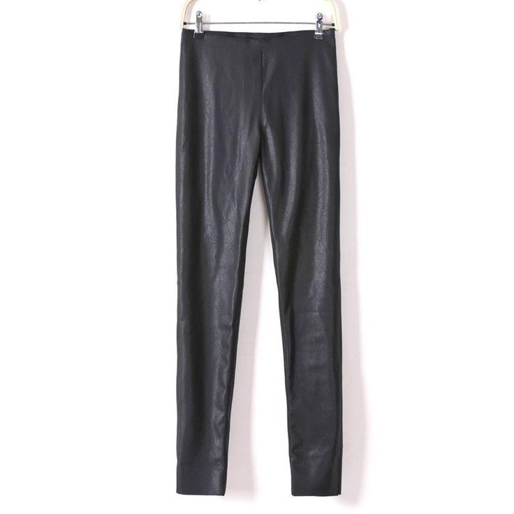 Women Faux Leather Pencil Pants Stretch Elastic Waist Black Sexy Capris Ladies'Legging Spring Autumn Winter Pants