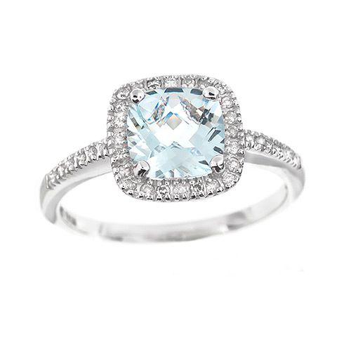Sheri Brown's pick. A GORGEOUS cushion cut aqua marine ring with diamonds!