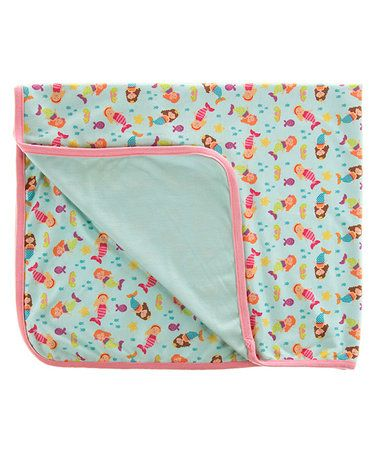 $16.99 marked down from $32.99! 30'' x 36'' Pink & Teal Wave Baby Blanket #baby #mermaid #nautical #blanket #zulilyfinds