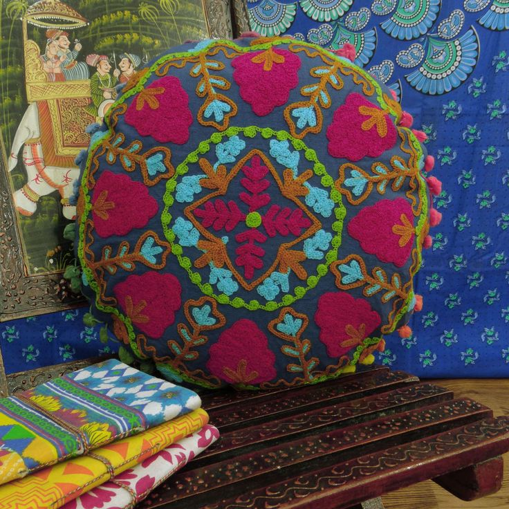 Indian Vintage Embroidered Uzbek Suzani Cushion Cover Traditional Pillow Cover #Handmade #ArtsCraftsMissionStyle