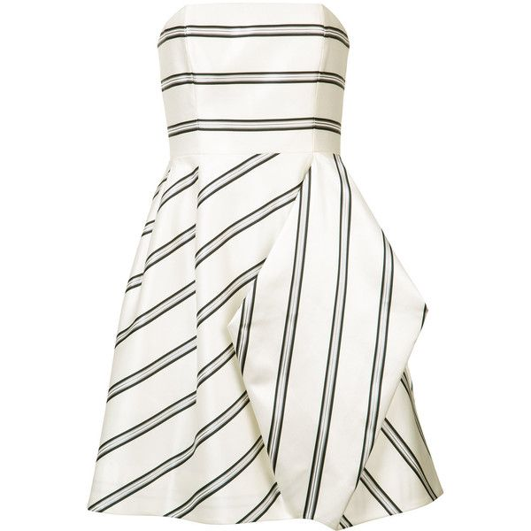 Halston Heritage striped party dress (€530) ❤ liked on Polyvore featuring dresses, white, white stripe dress, white striped dress, halston heritage, striped cocktail dress and halston heritage cocktail dress