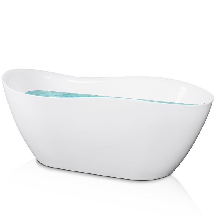 AKDY 5.56 ft. Acrylic Reversible Drain Oval Double Ended Flatbottom Non-Whirlpool Freestanding Bathtub in White