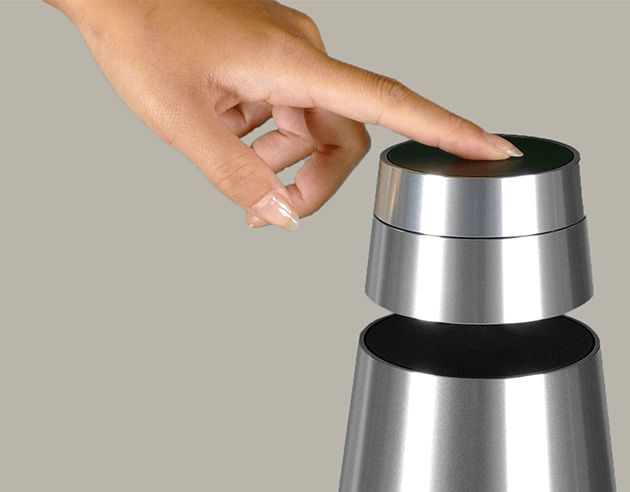 Tap, turn and swipe with BeoSound 1! BeoSound 1 has a built-in proximity sensor that, when approached, detects your presence and gets itself ready for your command!