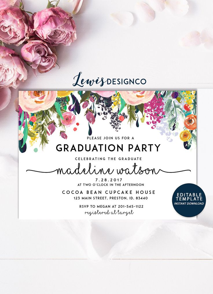 Graduation Party Invitation, High School Graduation Invite, Open House Invitation, Class of 2017,  Floral Invitation Card, Editable Template by LewisDesignCo on Etsy https://www.etsy.com/listing/523599239/graduation-party-invitation-high-school