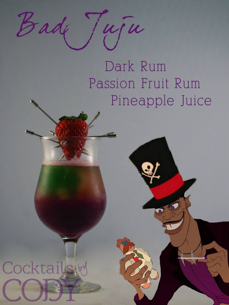 "A dark Mardi Gras inspired drink based on blood magic. This is Dr. Facilier's ""Bad Juju"". I toyed with the idea of a traditional Hurricane cocktail which is signature in New Orleans, and Mardi Gras in general, while still managing a layered, and conceptually strong cocktail using Myer's Dark Rum. While being garnished with a voodoo doll Strawberry. https://www.facebook.com/Codys.cocktails/photos/a.1444118769154040.1073741831.1433729390192978/1454680174764566/?type=3&theater"