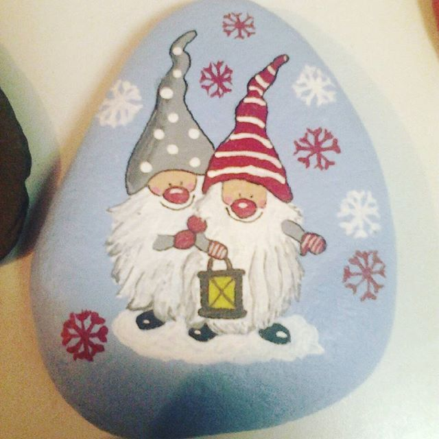 Christmas Gnome Rock Painting