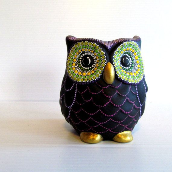 Owl Vase: Small hand painted ceramic Owl vase by PearlesPainting