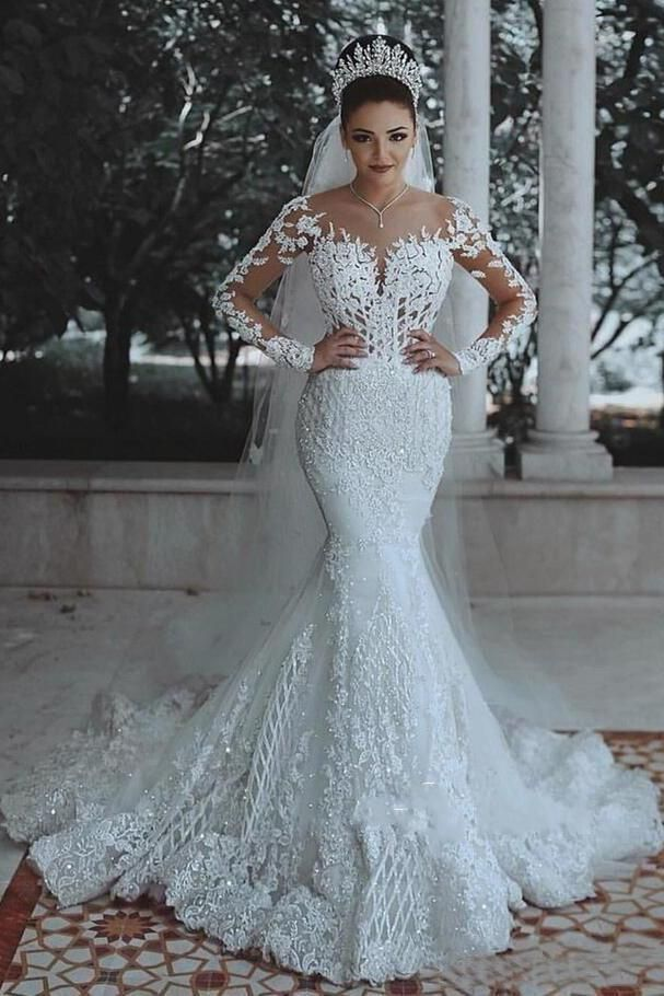 831f13265247d Long Sleeve Lace Wedding Dress Mermaid Beads Lace Appliques Wedding Gowns  on sale – PromDress.me.uk . bohowedding  bohoweddingdresses  weddingdresses  ...