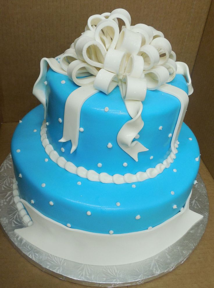 Calumet Bakery  Two tier tiffany blue cake with bow