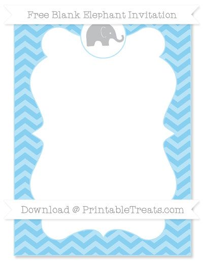 Free Baby Blue Chevron Blank Elephant Invitation