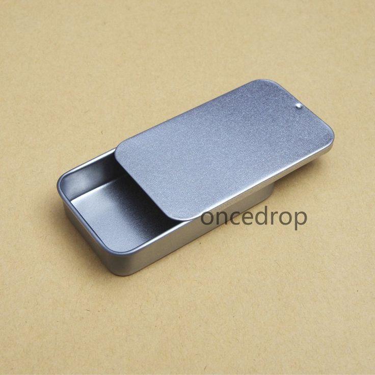 10 Mini Tin Box Blank Sliding Lid Tin Case DIY Small Metal Storage Boxes