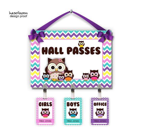 owls themed classroom hall passes sign - teachers class bathroom chevron office tags - HP3 on Etsy, $33.99