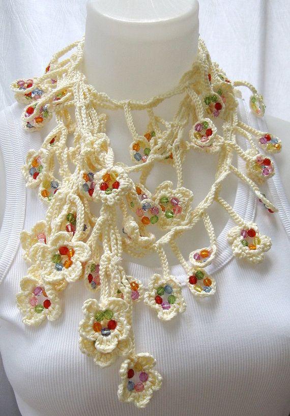 Crochet beaded necklace scarf