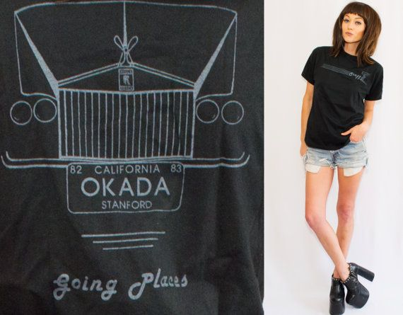 www.dreevintage.com Vintage Soft Rolls Royce Staff  T-shirt • Okada Stanford University California • Thin Black T-shirt