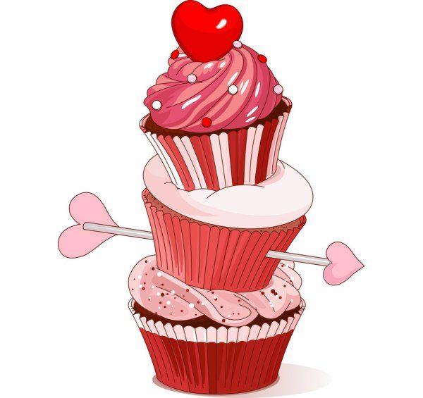 Cupcakes De San Valentin Ilustracion De Stock Dibujos De Cupcakes Cupcake Vector Dibujos De Pasteleria