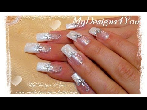 56 best wedding nail art ideas tutorials images on pinterest easy bridal nail art tutorial diy wedding nails how to diy easy bridal solutioingenieria Gallery