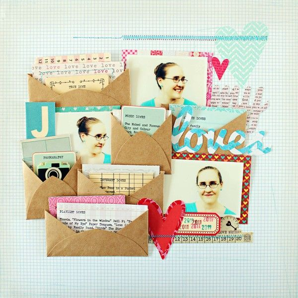 adore all the mini envies on this layout - such fun for holding various pics and journaling and trinkets.