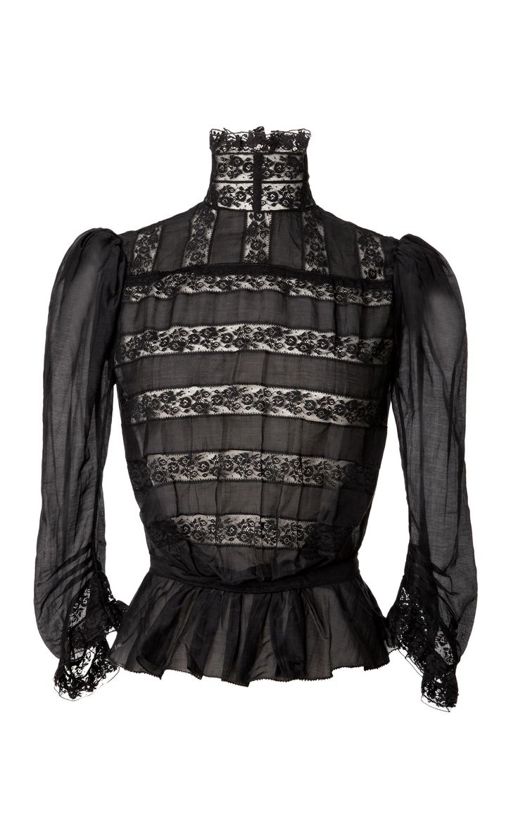Black Cotton Voile Victorian Blouse by Marc Jacobs for Preorder on Moda Operandi