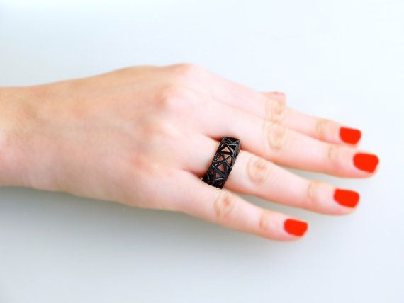 geometric ring  Triangulated Ring in Black. 3d by ArchetypeZ, $15.00
