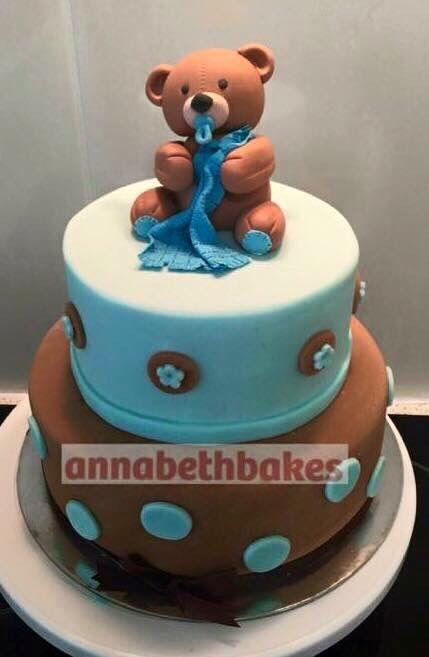 Baby bear with blanket baby shower cake - annabethbakes