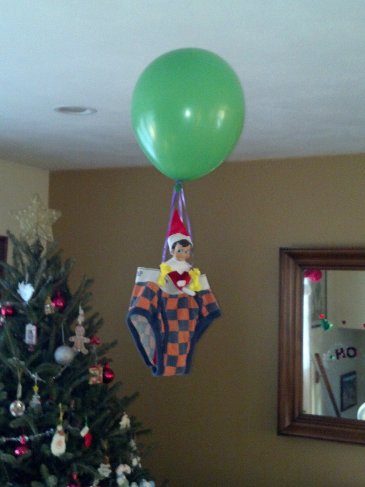 Elf on the Shelf - Air balloon ride @Melissa Thorne I know two kids that would love this one: Christmas Time, Hot Air Balloon, 25 Elf, Easy Ideas, Air Balloon Riding, Wonder Time, Shelf Ideas, Elf On The Shelf Boys, Shelf Quick
