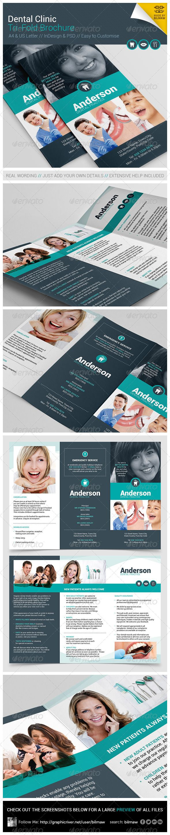 Dental Clinic Tri-Fold Brochure. A modern 6 Panel Tri-Fold/3-Fold leaflet, complete with real wording which you can use or edit to suit your needs.