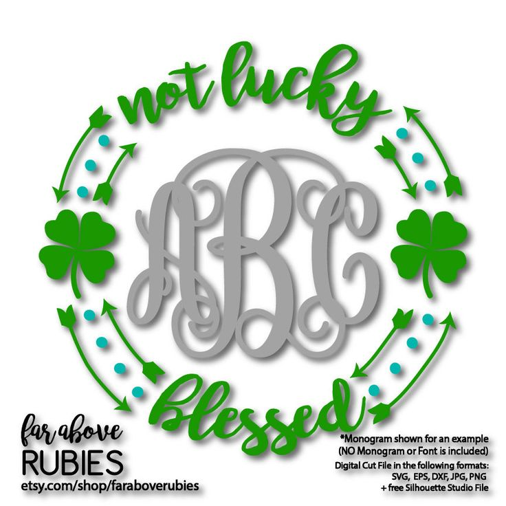 Not Lucky Blessed SVG Instant Download Clover Monogram (monogram NOT included) SVG digital cut file for Silhouette for Cricut http://etsy.me/2GFxQUP #etsy #stpatricksday #scrapbooking #notluckyblessed #instantdownload #cloversvg #monogramsvg