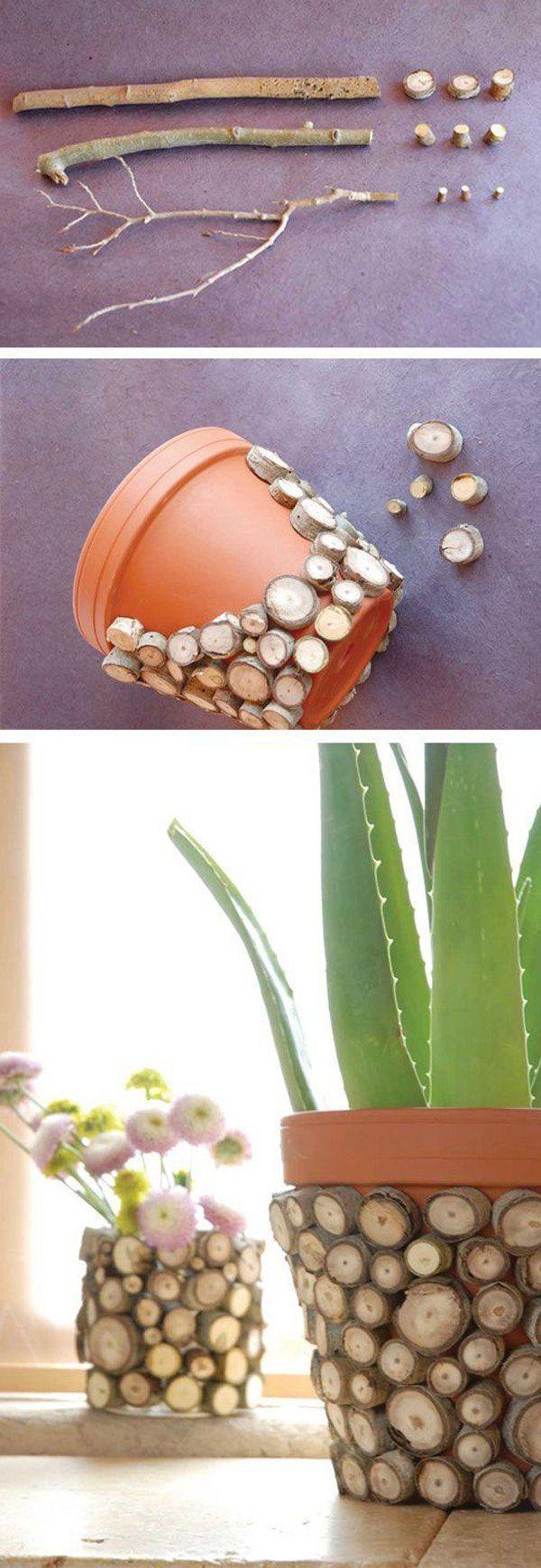 Ihr Topf, den Sie im Haus oder davor hüten, kann auf diese Weise dekoriert werden. Y … #WoodWorking