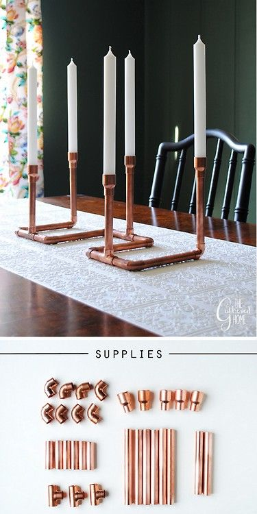 DIY Copper Pipe Candalabra Tutorial from The Gathered Home. I really like the look of hardware...
