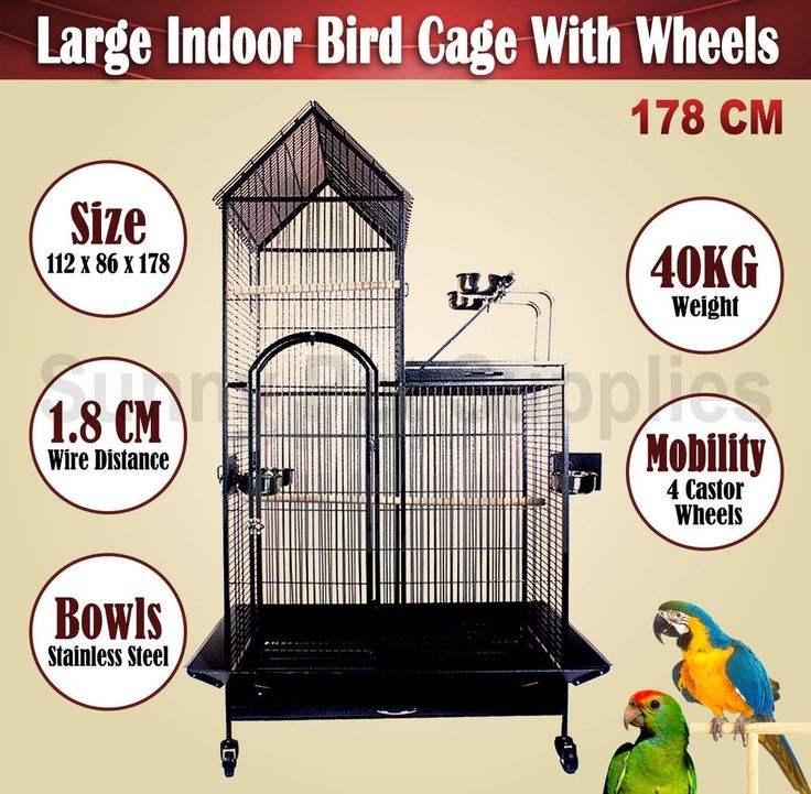 Large 178CM Indoor Bird Parrot Budgie Cage Aviary Perch On Wheels