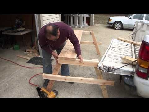 How To Build A Cheap Wood Picnic Table - A Complete Guide From Start To Finish - YouTube