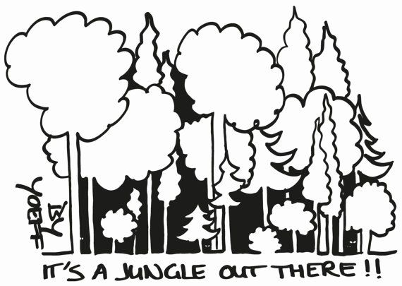 Zwart-wit print van tekening. Een donker bos. 'It's a door byYoeff