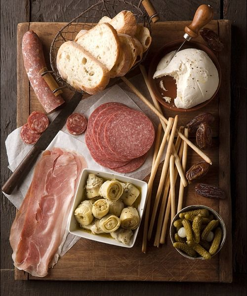 bread, charcuterie, cheese