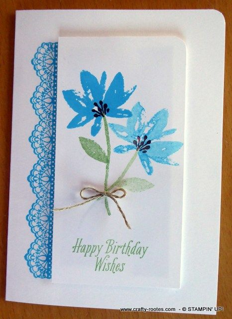 I was stamping the beautiful, watercolour style flower from the Avant Garden stamp set in different colours, looking for inspiration for a clean and simple card for a friends' birthday when I stumbled across Tempting Turquoise, a colour I don't use very often …………. and I loved it. I took a panel of Whisper White …