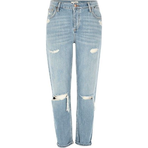 River Island Light blue ripped Ashley boyfriend jeans ($84) ❤ liked on Polyvore featuring jeans, pants, blue, bottoms, calças, boyfriend / slouch jeans, women, distressed boyfriend jeans, distressed jeans and mid rise boyfriend jeans