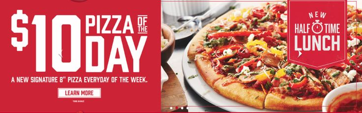 Boston Pizza Canada Offers: $10 Lunch Pizza of the Day Everyday of the Week Save 50% off Your Second Pizza http://www.lavahotdeals.com/ca/cheap/boston-pizza-canada-offers-10-lunch-pizza-day/136716