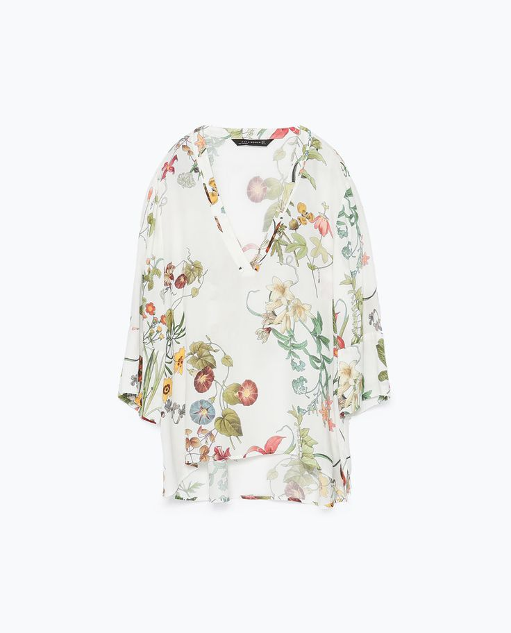 Image 7 of PRINTED TOP WITH UNEVEN HEM from Zara