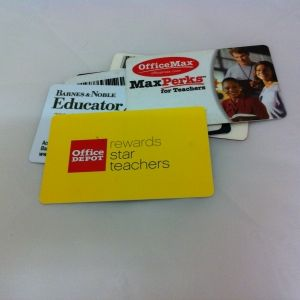 10 Places to Get Teacher Discount Cards. I'd like to share a list of 10 stores that offer discount cards specifically for teachers. These are some of the major retail chains where you can buy supplies, books, games, and crafts for the classroom. For information about other types of teacher discounts, scroll to the bottom of the post. And if I have left off a favorite of yours, please share the wealth in the comments section!