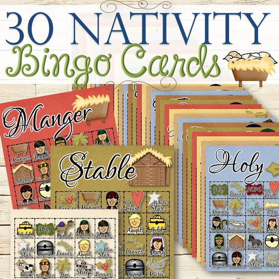 30 Christmas Nativity Bingo Cards  INSTANT DOWNLOAD by TimeSavors