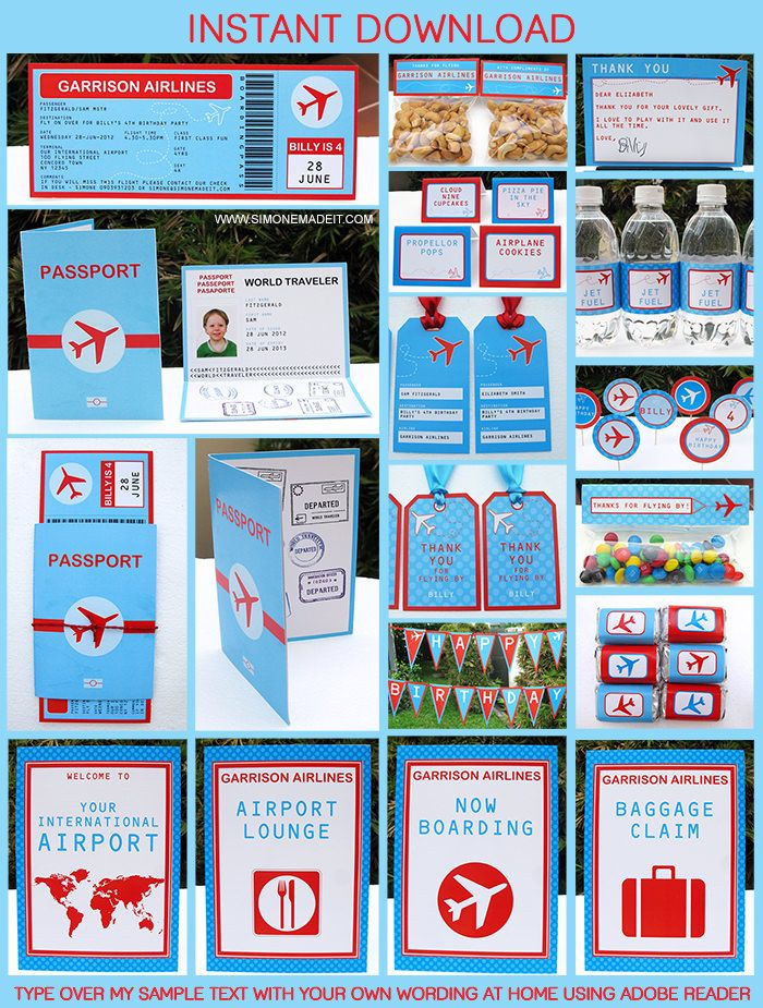 Airplane Boarding Pass Invitation with Passport and Printable Decorations   Airplane Birthday Party   Theme Template