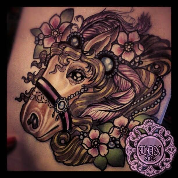 Neo traditional Pony tattoo by Lyndall DN