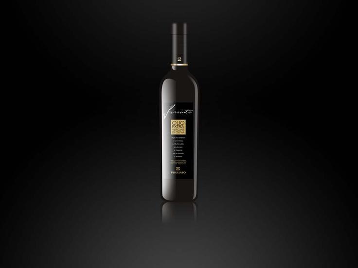 olio extravergine d'oliva - etichetta sfondo nero