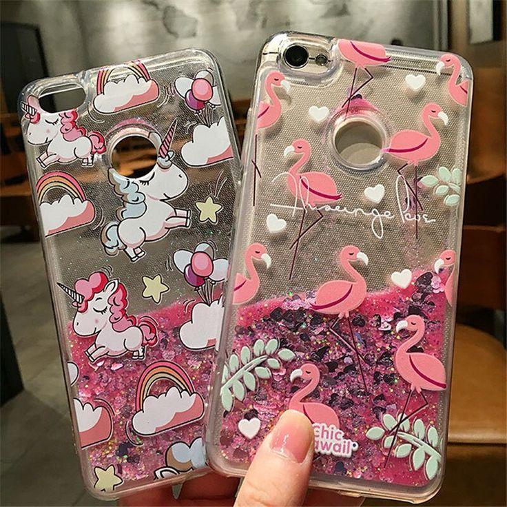 Girls Liquid Quicksand Glitter Case For Xiaomi Redmi Note